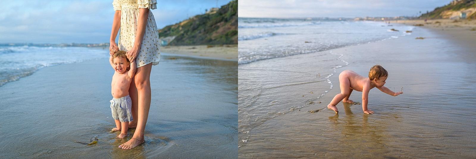 Naked baby on the beach for milestone photos