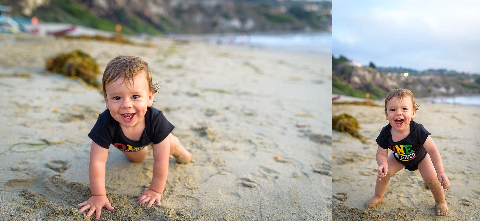 toddler tries standing on the beach for the first time.