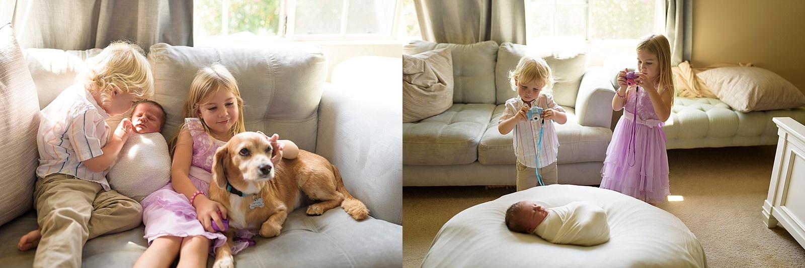 Siblings participate in newborn photo shoot